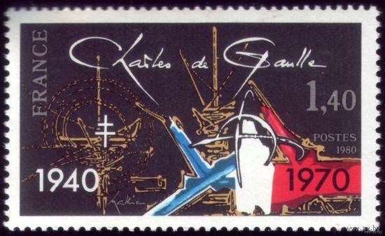 1 марка 1980 год Франция Де Голль