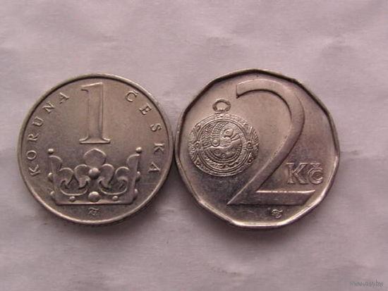Чехия 2 кроны 1998г и 1 крона 1994г   распродажа