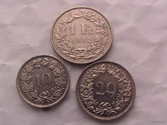 Швейцария 1 франк 1982г, 20 рапен 1975г, 10 рапен 1976г   распродажа