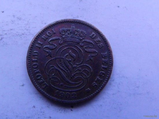 Бельгия 2 сантим 1902г.  распродажа