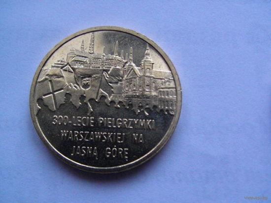 Польша 2 злотых 2011г    300-LECIE PIELGRZYMKI WARSZAWSKIEJ NA JASNA GORE   распродажа
