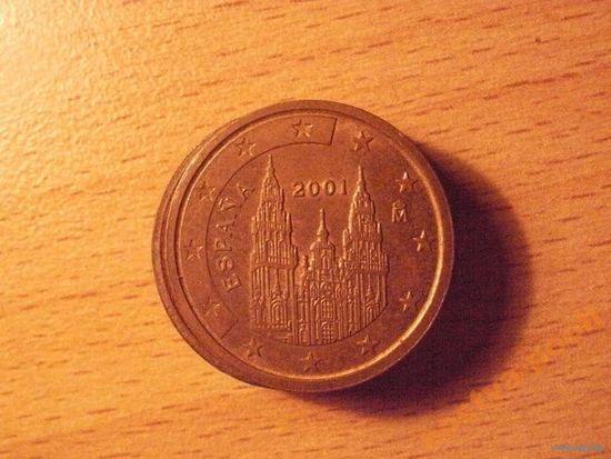 Испания 2 евроцента 2001г.  распродажа