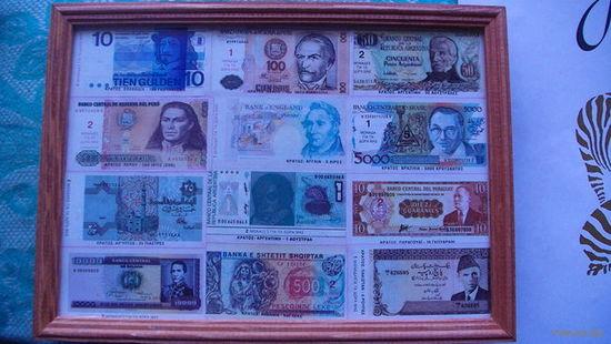 Картина  из копий денежных знаков разных стран. распродажа