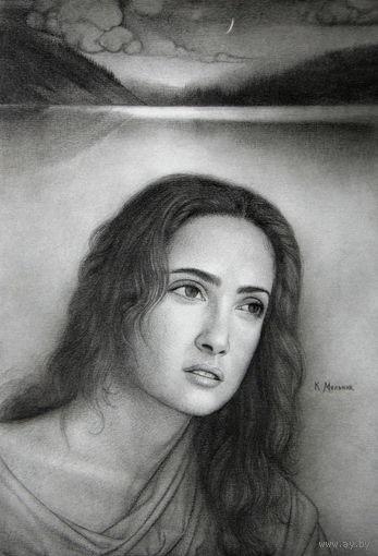 """Графика: """"Сальма Хайек около озера"""". 2006 год. Бумага, графитный карандаш-размер-29*21 см.-Мельник К."""