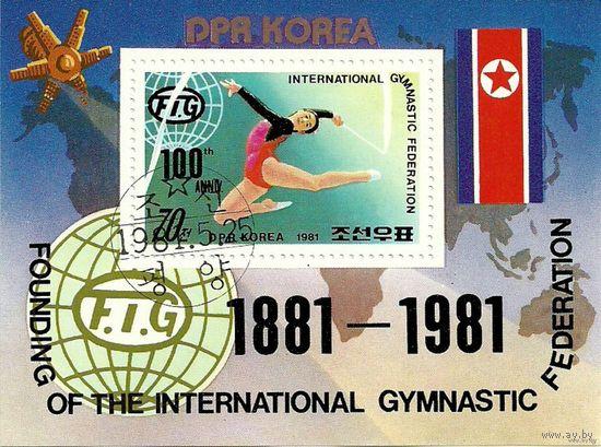 Спорт. 100-летие международной федерации по гимнастике. КНДР. 1981 г. (Корея) Серия + блок + м.л.