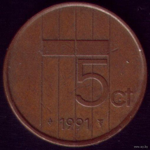 5 центов 1991 год Нидерланды