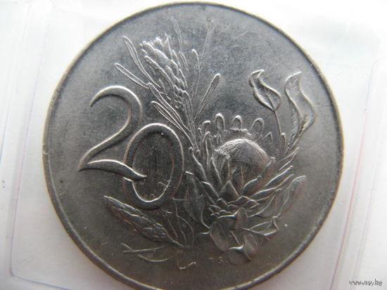 "ЮАР 20 центов 1965 г. (Надпись на английском языке - ""SOUTH AFRICA"")"