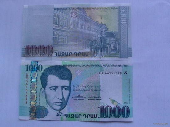 Армения 1000 драм 2011г с металлической полосой пресс. из пачки распродажа. новость