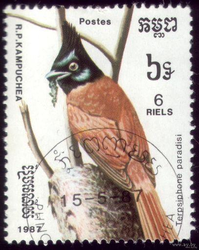1 марка 1987 год Кампучия Птичка
