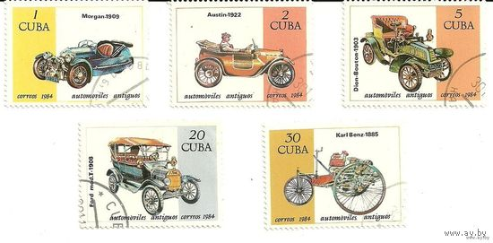 Автомобили ретро. Серия 5 марок 1984 транспорт Куба