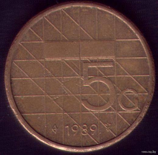 5 Гульденов 1989 год Нидерланды 2
