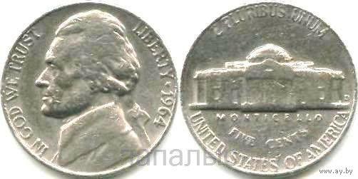 США 5 cents 1964D, 1978, 1981P на выбор