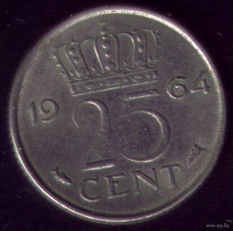 25 центов 1964 год Нидерланды