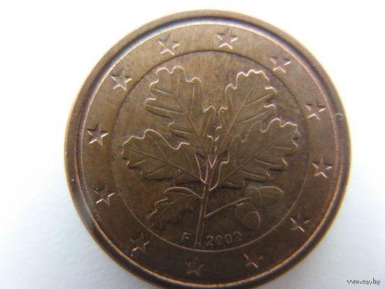 Германия 1 евроцент 2002г. (F)