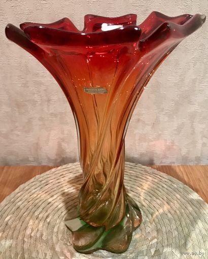 Итальянская винтажная ваза из цветного стекла Мурано