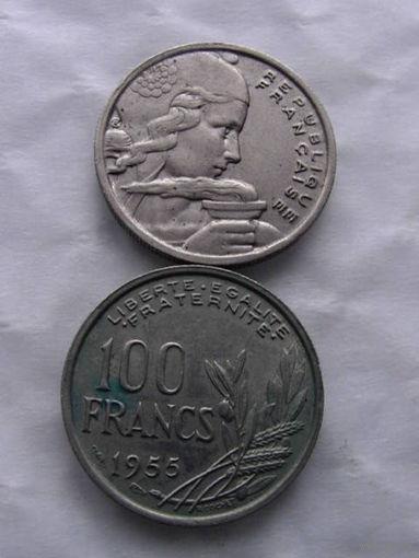 100 франков Франция 1955 г.в    распродажа