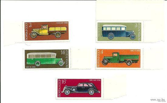История отечественного автомобилестроения. Серия 5 марок 1974 г. транспорт негаш. СССР