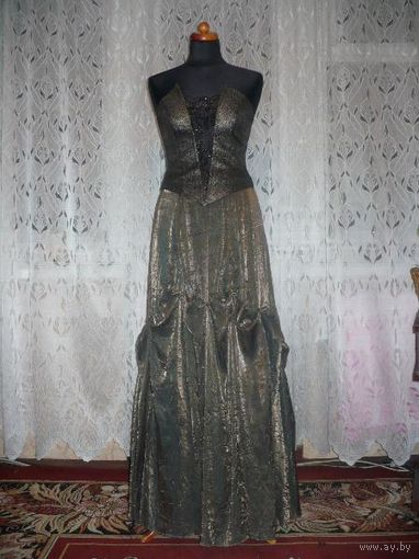 Зеленовато-бронзовое платье с корсетом !!! Р-р 44-46-48, рост ЛЮБОЙ, ПРОКАТ!!!