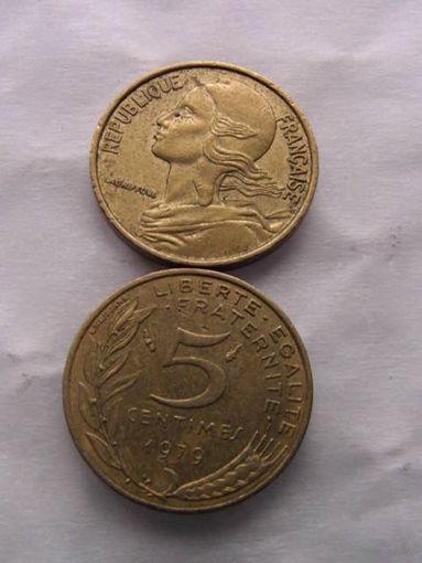 Франция 5 сентим 1979г No1  распродажа