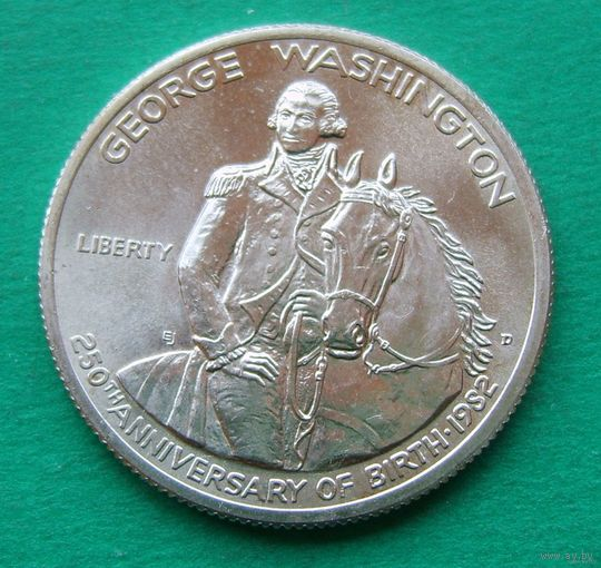 50 центов 1982 D GEORGE WASHINGTON, 250TH BIRTH ANNIVERSARY.  KM# 208 серебро
