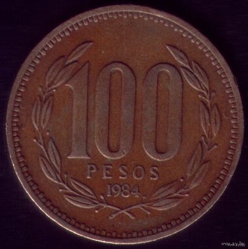100 Песо 1984 год Чили Круглая