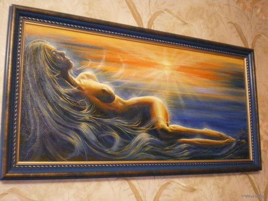 "Картина ""Закат и девушка"", масло, ДВП, в раме, размер 52х98"