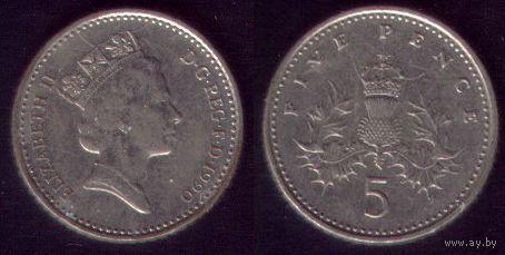 5 пенсов 1990 год Великобритания Простая