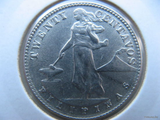 Филиппины 20 сентаво 1944 г. серебро