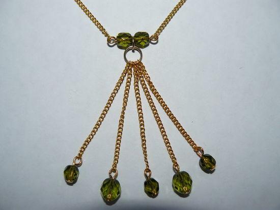 Кулон Ягодный Аромат Etalon-Jenavi- позолота и зеленые кристаллы Swarovski