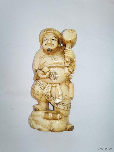 """Окимоно.""""Дайкоку""""слоновая кость,резьба,период1800-1900г"""