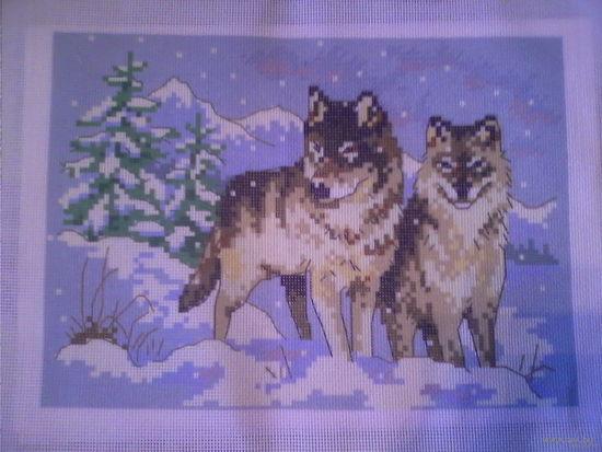 Набор для вышивки на канве. Волки