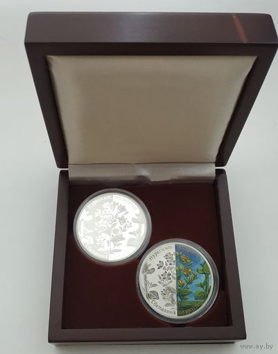 20 рублей. 2013 Зверобой четырехкрылый. Набор из 2-х монет. Серебро Ag925
