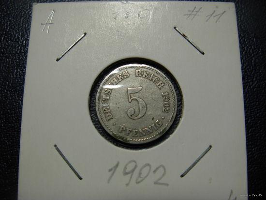 Германия 5 пфеннигов 1902 А
