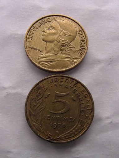 Франция 5 сантимов 1970г  распродажа