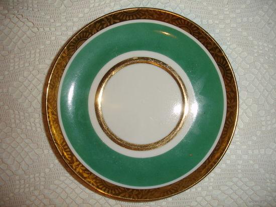 Блюдца редкие изумруд с золотом ЛФЗ винтаж 70-е гг комплект 6 шт.
