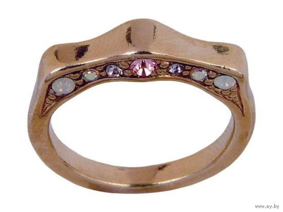 Кольцо Парфе Etalon-Jenavi - позолота и розовые кристаллы Swarovski