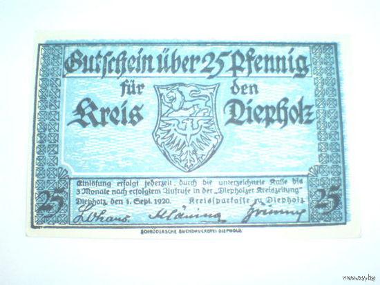 Австрия нотхельд 25 геллер. 1920г. распродажа