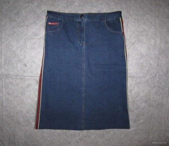 Юбка джинсовая с лампасами, р.XL