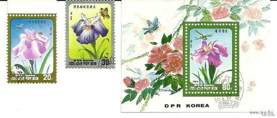 Флора. Цветы. КНДР 1986 г. (Корея) Серия + блок
