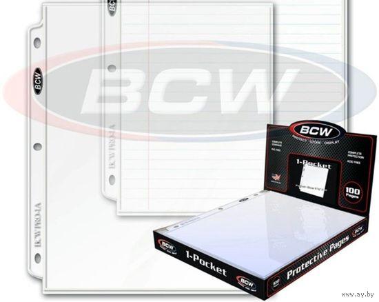 """Листы для банкнот """"BCW"""" на 1 ячейку (289х240 мм, ячейка 285х220 мм)"""