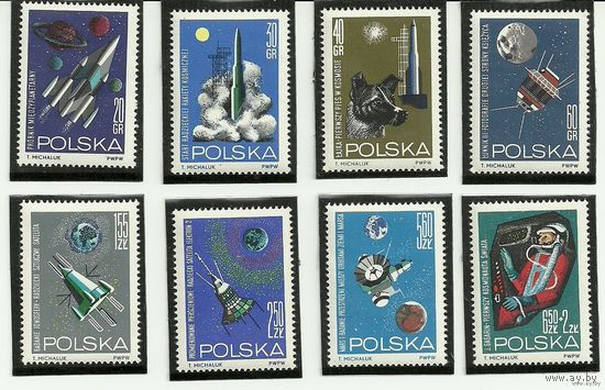 Исследования космоса. Серия 8 марок негаш. 1965 Польша