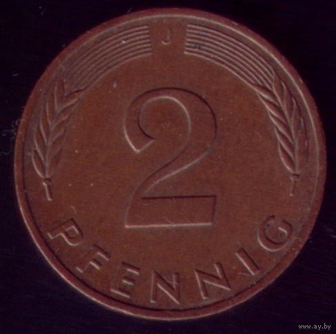 2 пфеннига 1991 год ФРГ J