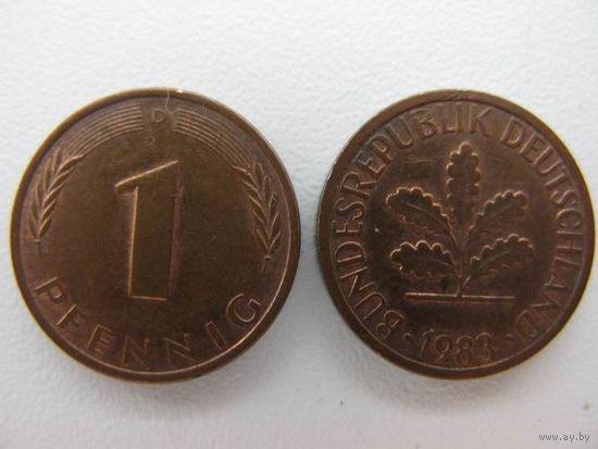 Германия  1 пф 1983 D
