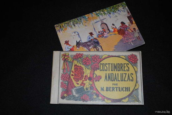 """Старый и редкий набор из 10-ти почтовых карточек/открыток по теме:_""""Costumbres Andaluzas por M.BERTUCHI""""_Juan Barguno-Barcelona_CARNET_ No1_до 1920 года_!"""