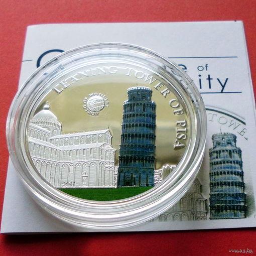 Палау 5 долларов 2011 Пизанскя башня , Серебро, Proof.