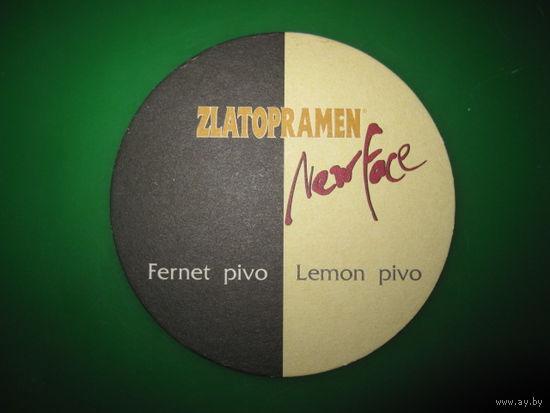Бирдекели Zlatopramen new face (Чехия). Бирдекель. Подставка под пиво.