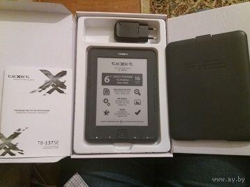 """TeXet TB-137SE экран 6"""" E-Ink, монохромный, 600 x 800, память 4 Гб, карты памяти, поддерживает много разных файлов, длительность чтения 7000 страниц, хорошее состояние, пластиковый чехол, коробка, зар"""