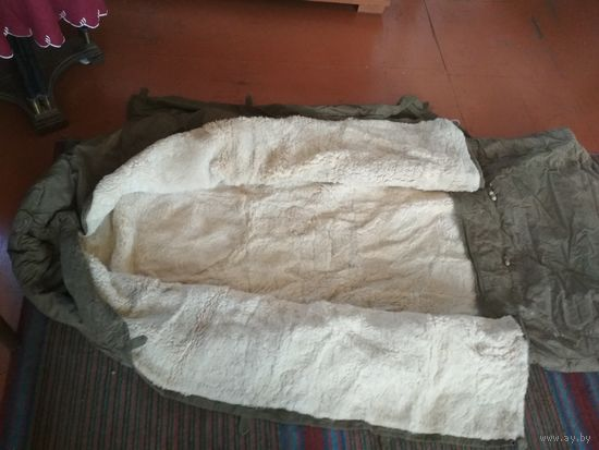 Армейский спальный мешок на натуральном меху (овчина) СССР