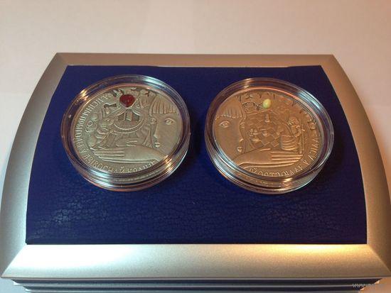 Алиса в зазеркалье + страна чудес (серебро); 20 рублей * 2 шт