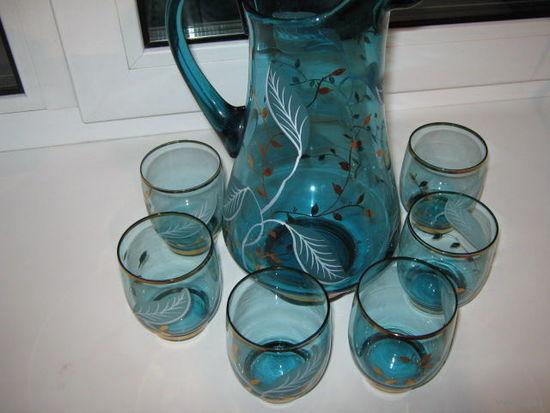Набор для морса.Чешское голубое стекло,ручная роспись.70е года20 века.